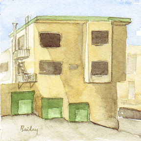 "Ashbury, 4""x4"", Watercolor,  Brian Bailey © 2015"