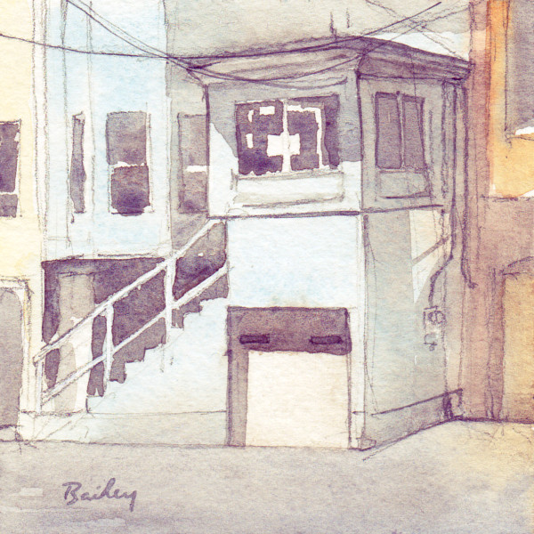 Blue Garage, Watercolor Painting