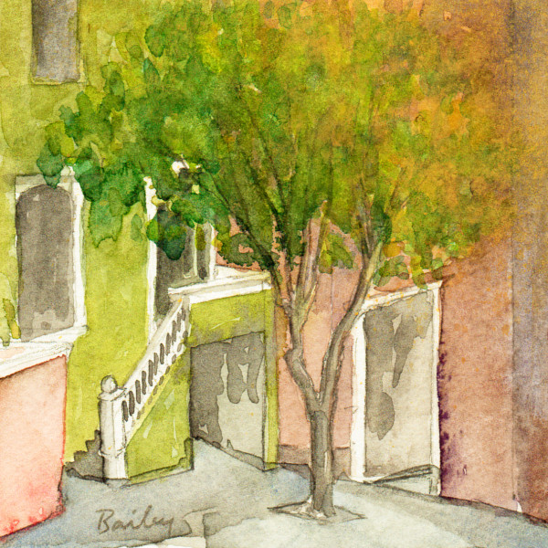 Down the Street Watercolor Painting