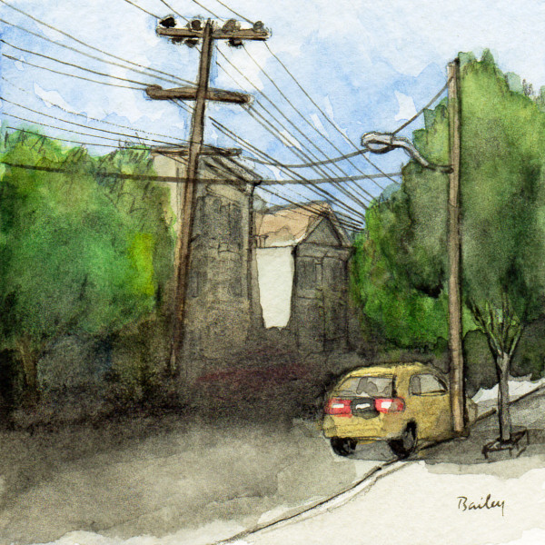 One Yellow Car and Shadow, Watercolor Painting