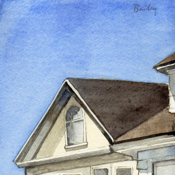 Upstairs Window, Watercolor Painting