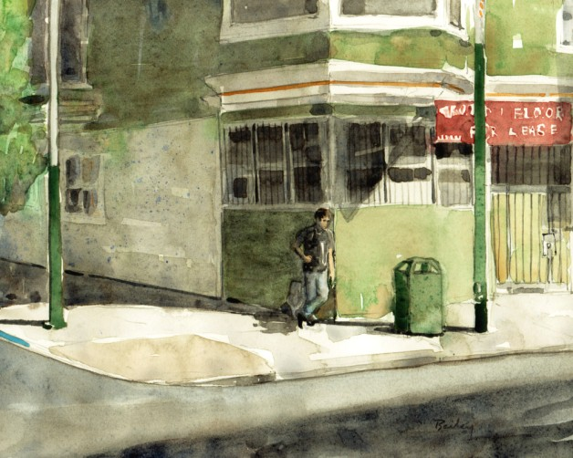 Watercolor Painting, A Corner on Haight