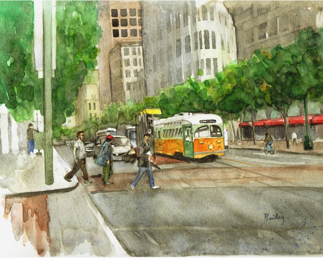 Watercolor Painting, Crossing Market
