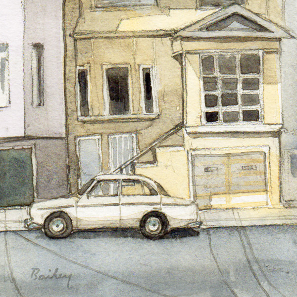 Parked Outside, Watercolor Painting