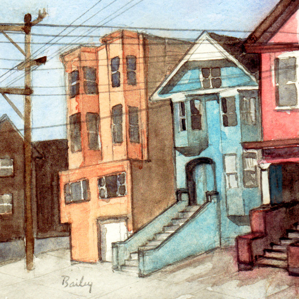 Watercolor Painting, The Corner on Cole