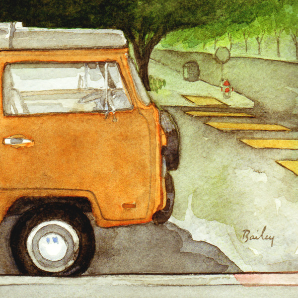 Watercolor Painting, The Orange Van
