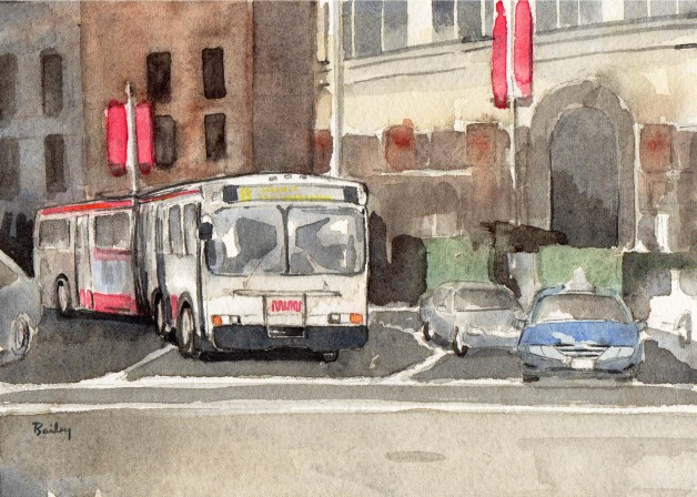 Watercolor Painting, Traffic
