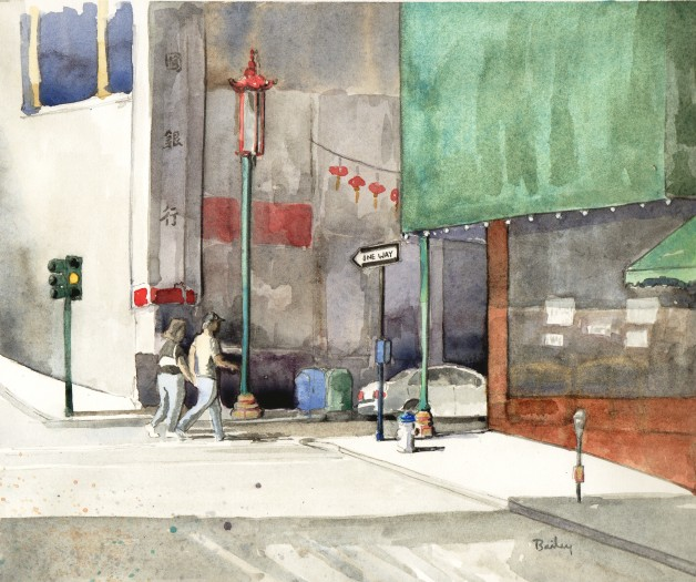 Watercolor Painting, Grant Street, Brian Bailey