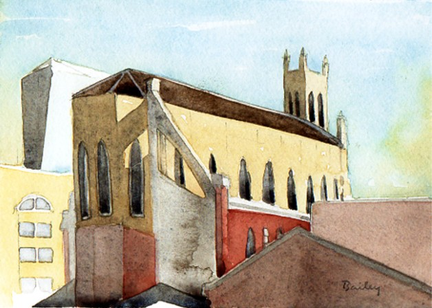 Watercolor Painting by Brian Bailey, Shadow of St. Patrick