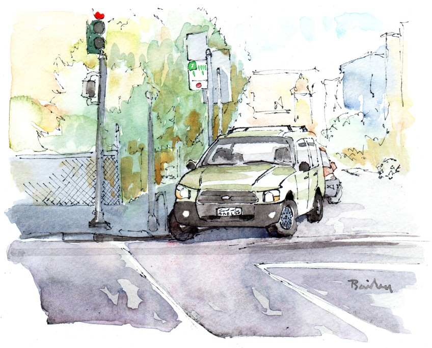 "Brian Bailey, The Car on the Corner, Watercolor, 7"" x 5"" © 2016"