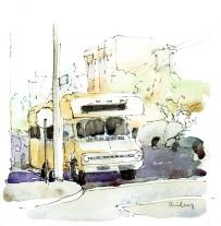 """Brian Bailey, RV, Watercolor, 5"""" x 5"""" © 2016"""